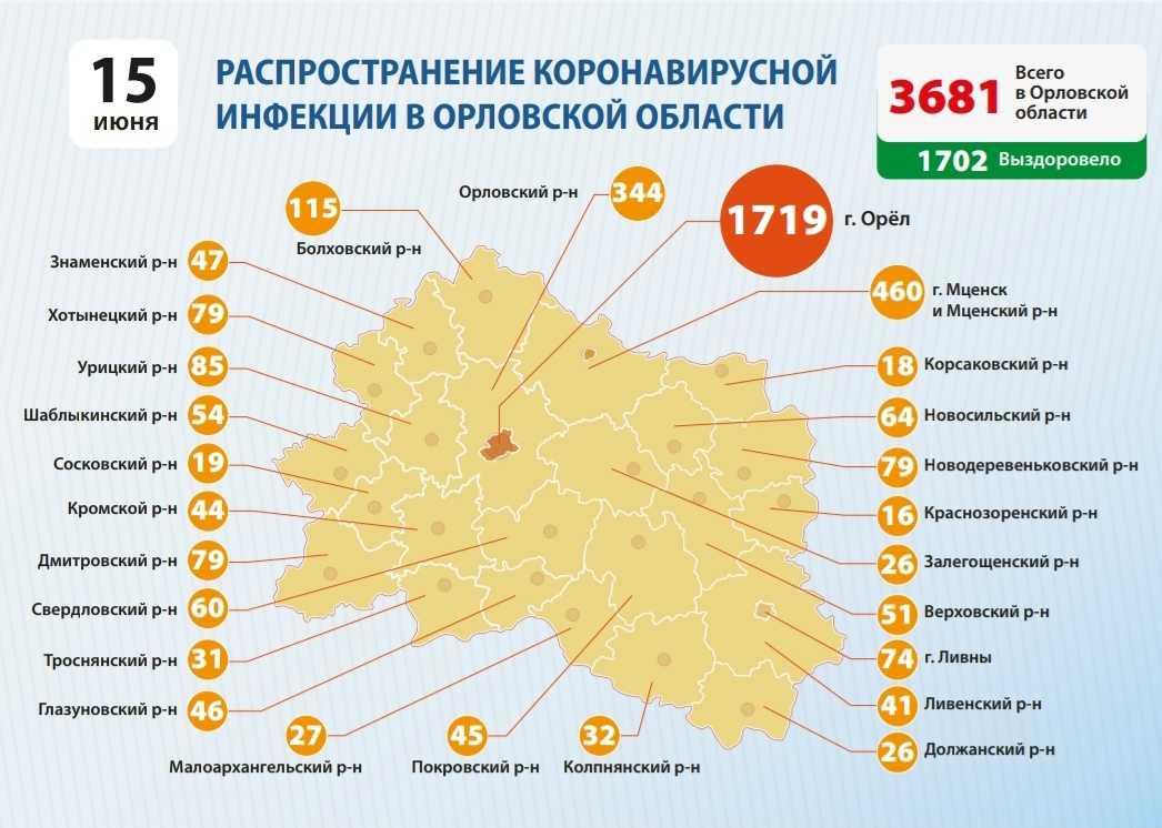 География распространения COVID-19 по области 15 июня 2020 года