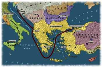Карта Четвертого крестового похода