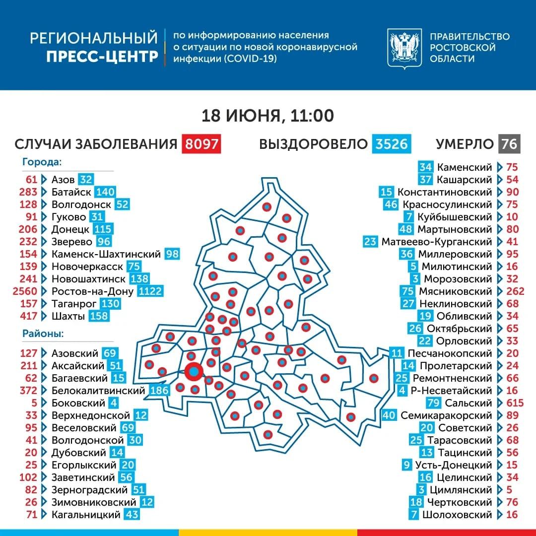 География распространения COVID-19 по Ростовской области 18 июня 2020 года