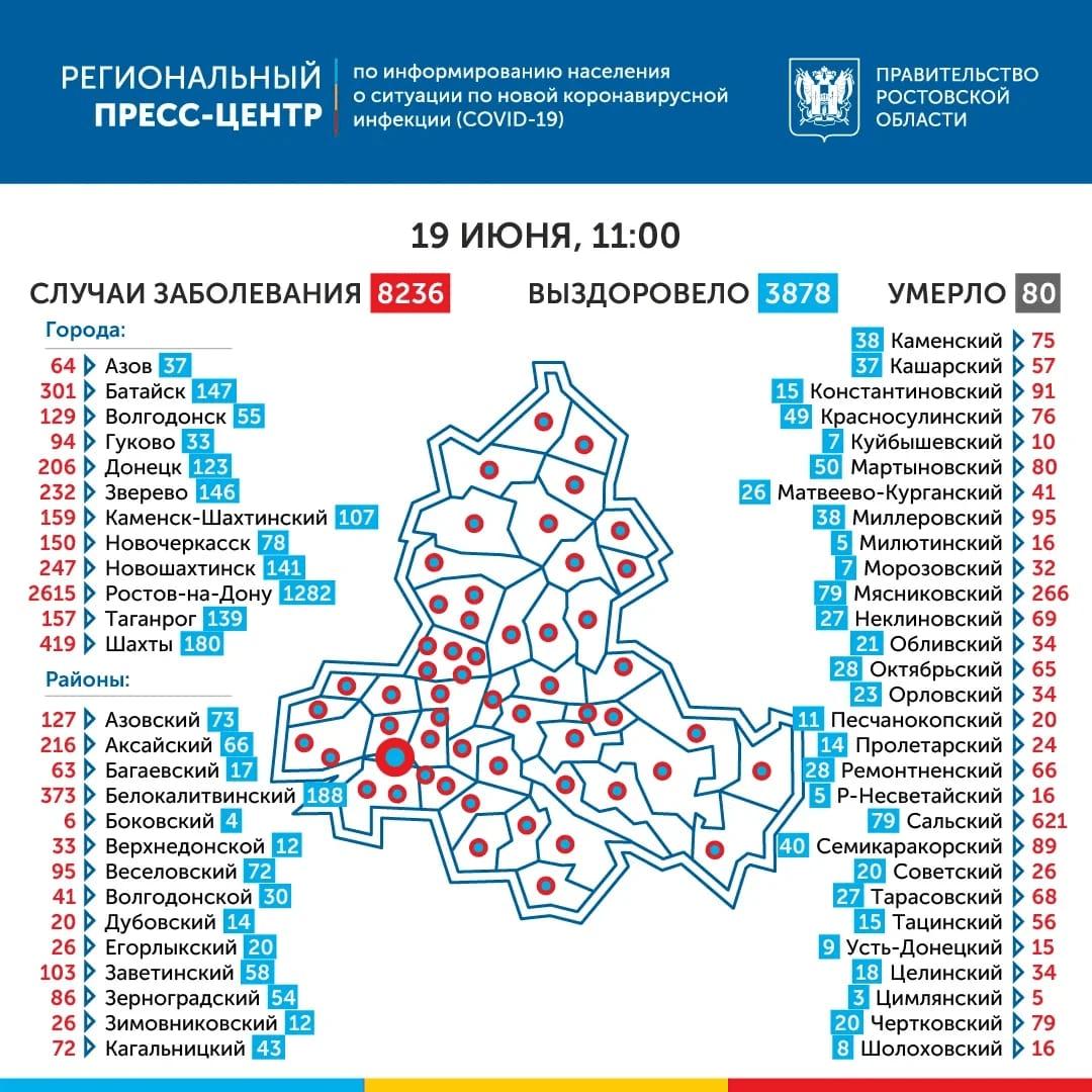 География распространения COVID-19 по Ростовской области 19 июня 2020 года