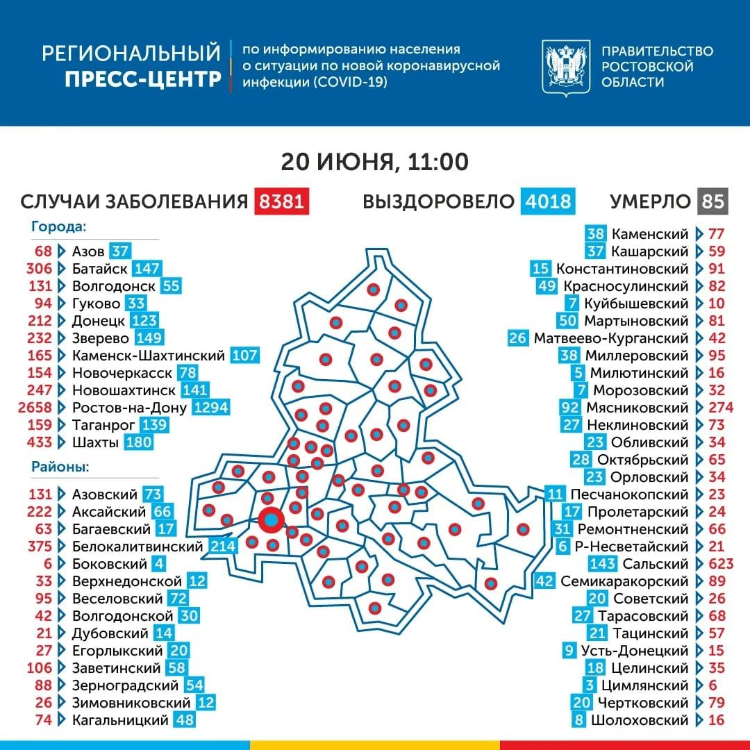 География распространения COVID-19 по Ростовской области 20 июня 2020 года