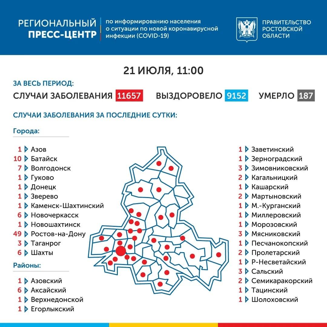 Карта распространения коронавируса в Ростовской области 21 июля 2020