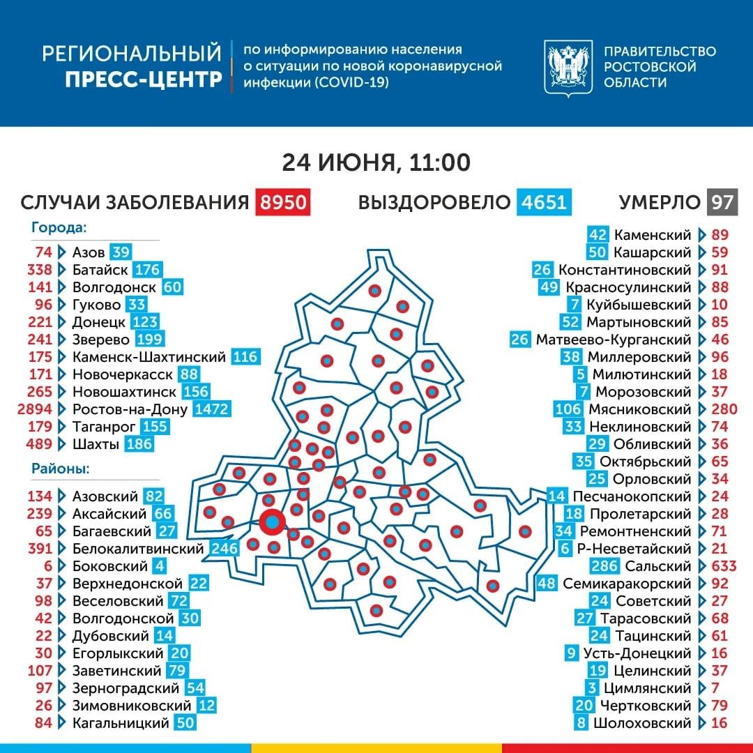 География распространения COVID-19 по области 24 июня 2020 года