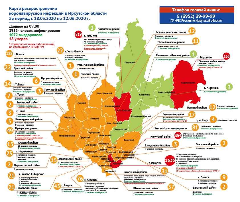 География распространения COVID-19 по области 12 июня 2020