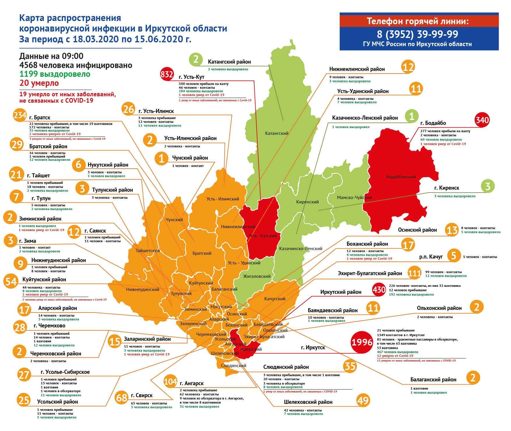 География распространения COVID-19 по области 15 июня 2020