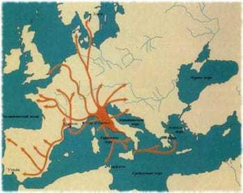 Карта торговых маршрутов этрусков