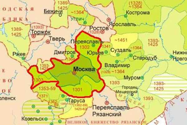 Карта территорий Ивана Калиты