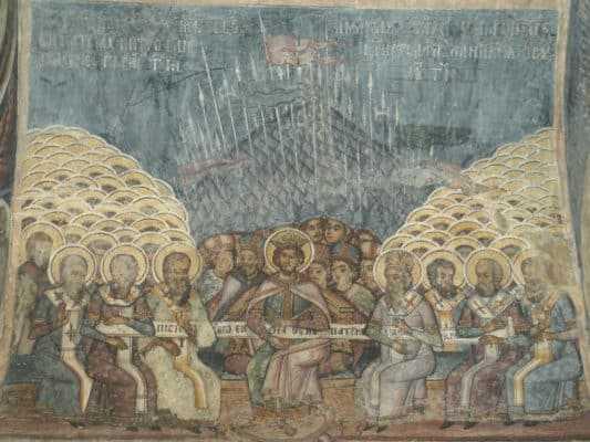 Первый Никейский собор. Фреска, XVIII век. Бухарестский Ставропольский монастырь