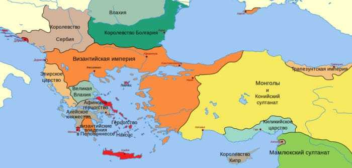 Византийская империя и Балканские государства около 1265 года